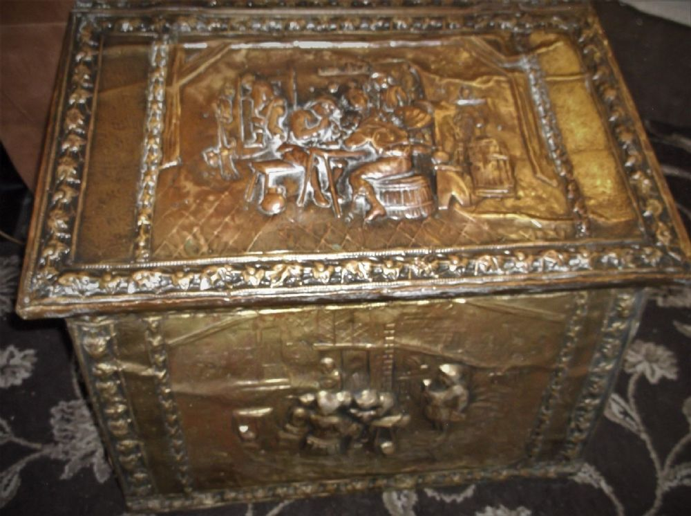 Large Antique Deep Repousse Scenes Brass Wood Bound Log